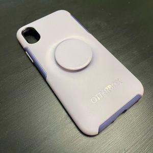 iPhone X case- otter box + pop socket